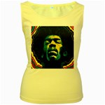 Gabz Jimi Hendrix Voodoo Child Poster Release From Dark Hall Mansion Women s Yellow Tank Top