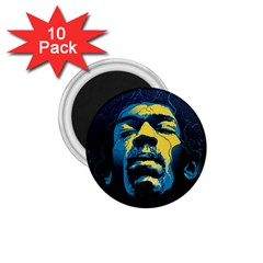 Gabz Jimi Hendrix Voodoo Child Poster Release From Dark Hall Mansion 1 75  Magnets (10 Pack)  by Onesevenart