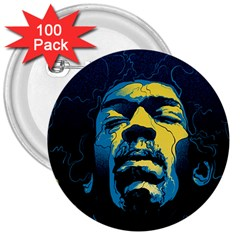 Gabz Jimi Hendrix Voodoo Child Poster Release From Dark Hall Mansion 3  Buttons (100 Pack)  by Onesevenart
