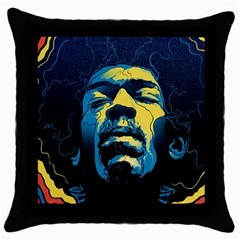Gabz Jimi Hendrix Voodoo Child Poster Release From Dark Hall Mansion Throw Pillow Case (black) by Onesevenart