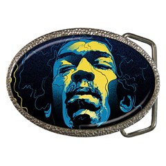 Gabz Jimi Hendrix Voodoo Child Poster Release From Dark Hall Mansion Belt Buckles by Onesevenart
