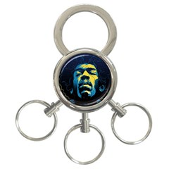 Gabz Jimi Hendrix Voodoo Child Poster Release From Dark Hall Mansion 3-Ring Key Chains by Onesevenart