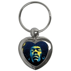 Gabz Jimi Hendrix Voodoo Child Poster Release From Dark Hall Mansion Key Chains (heart)  by Onesevenart