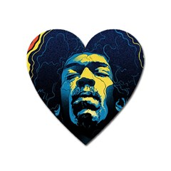 Gabz Jimi Hendrix Voodoo Child Poster Release From Dark Hall Mansion Heart Magnet by Onesevenart