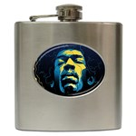 Gabz Jimi Hendrix Voodoo Child Poster Release From Dark Hall Mansion Hip Flask (6 oz)