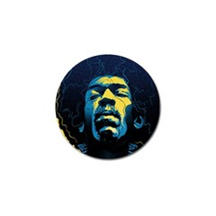 Gabz Jimi Hendrix Voodoo Child Poster Release From Dark Hall Mansion Golf Ball Marker (4 Pack) by Onesevenart