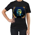 Gabz Jimi Hendrix Voodoo Child Poster Release From Dark Hall Mansion Women s T-Shirt (Black) (Two Sided)