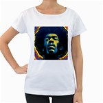 Gabz Jimi Hendrix Voodoo Child Poster Release From Dark Hall Mansion Women s Loose-Fit T-Shirt (White)