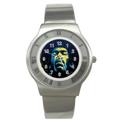 Gabz Jimi Hendrix Voodoo Child Poster Release From Dark Hall Mansion Stainless Steel Watch by Onesevenart