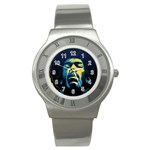 Gabz Jimi Hendrix Voodoo Child Poster Release From Dark Hall Mansion Stainless Steel Watch