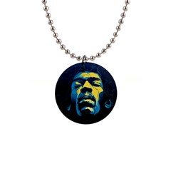 Gabz Jimi Hendrix Voodoo Child Poster Release From Dark Hall Mansion Button Necklaces by Onesevenart
