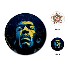 Gabz Jimi Hendrix Voodoo Child Poster Release From Dark Hall Mansion Playing Cards (round)  by Onesevenart