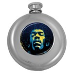 Gabz Jimi Hendrix Voodoo Child Poster Release From Dark Hall Mansion Round Hip Flask (5 oz)