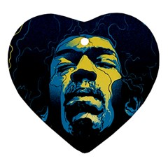 Gabz Jimi Hendrix Voodoo Child Poster Release From Dark Hall Mansion Heart Ornament (2 Sides) by Onesevenart