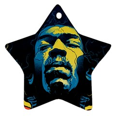 Gabz Jimi Hendrix Voodoo Child Poster Release From Dark Hall Mansion Star Ornament (two Sides)  by Onesevenart