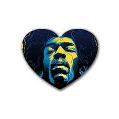 Gabz Jimi Hendrix Voodoo Child Poster Release From Dark Hall Mansion Heart Coaster (4 Pack)  by Onesevenart