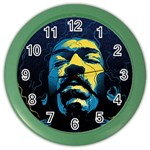 Gabz Jimi Hendrix Voodoo Child Poster Release From Dark Hall Mansion Color Wall Clocks