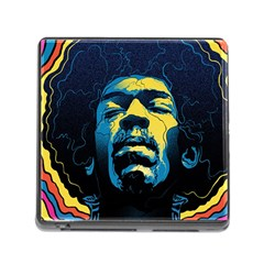 Gabz Jimi Hendrix Voodoo Child Poster Release From Dark Hall Mansion Memory Card Reader (square) by Onesevenart
