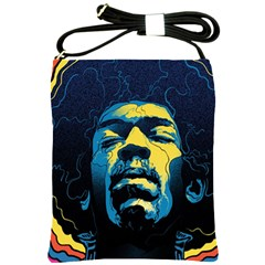 Gabz Jimi Hendrix Voodoo Child Poster Release From Dark Hall Mansion Shoulder Sling Bags by Onesevenart