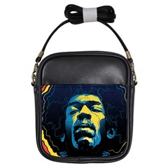 Gabz Jimi Hendrix Voodoo Child Poster Release From Dark Hall Mansion Girls Sling Bags by Onesevenart