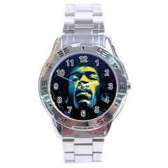 Gabz Jimi Hendrix Voodoo Child Poster Release From Dark Hall Mansion Stainless Steel Analogue Watch by Onesevenart