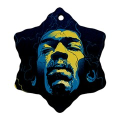 Gabz Jimi Hendrix Voodoo Child Poster Release From Dark Hall Mansion Ornament (snowflake)  by Onesevenart