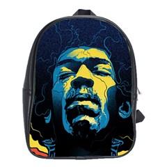 Gabz Jimi Hendrix Voodoo Child Poster Release From Dark Hall Mansion School Bags (xl)  by Onesevenart