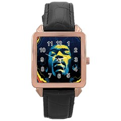 Gabz Jimi Hendrix Voodoo Child Poster Release From Dark Hall Mansion Rose Gold Leather Watch  by Onesevenart