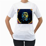 Gabz Jimi Hendrix Voodoo Child Poster Release From Dark Hall Mansion Women s T-Shirt (White)
