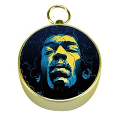 Gabz Jimi Hendrix Voodoo Child Poster Release From Dark Hall Mansion Gold Compasses by Onesevenart