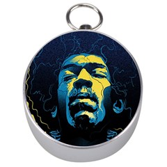 Gabz Jimi Hendrix Voodoo Child Poster Release From Dark Hall Mansion Silver Compasses by Onesevenart