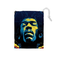 Gabz Jimi Hendrix Voodoo Child Poster Release From Dark Hall Mansion Drawstring Pouches (medium)  by Onesevenart