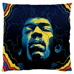 Gabz Jimi Hendrix Voodoo Child Poster Release From Dark Hall Mansion Large Flano Cushion Case (one Side) by Onesevenart