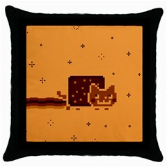 Nyan Cat Vintage Throw Pillow Case (black) by Onesevenart