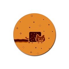 Nyan Cat Vintage Rubber Round Coaster (4 Pack)  by Onesevenart