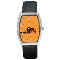 Nyan Cat Vintage Barrel Style Metal Watch by Onesevenart