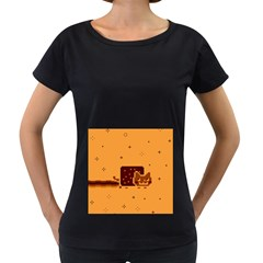 Nyan Cat Vintage Women s Loose Fit T Shirt (black) by Onesevenart