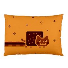 Nyan Cat Vintage Pillow Case by Onesevenart