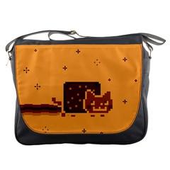 Nyan Cat Vintage Messenger Bags by Onesevenart