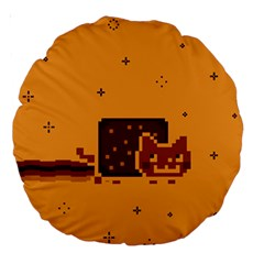 Nyan Cat Vintage Large 18  Premium Round Cushions by Onesevenart
