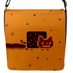 Nyan Cat Vintage Flap Messenger Bag (s) by Onesevenart