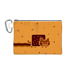 Nyan Cat Vintage Canvas Cosmetic Bag (m) by Onesevenart