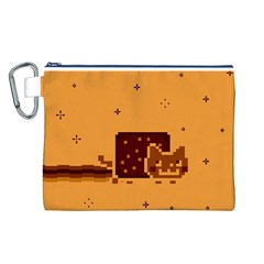 Nyan Cat Vintage Canvas Cosmetic Bag (l) by Onesevenart