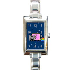 Nyan Cat Rectangle Italian Charm Watch by Onesevenart