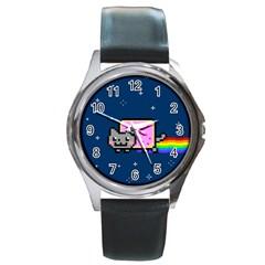 Nyan Cat Round Metal Watch by Onesevenart