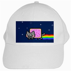 Nyan Cat White Cap by Onesevenart