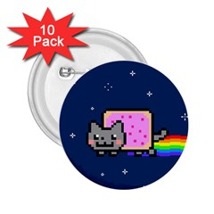 Nyan Cat 2 25  Buttons (10 Pack)  by Onesevenart