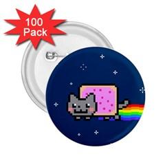 Nyan Cat 2 25  Buttons (100 Pack)  by Onesevenart