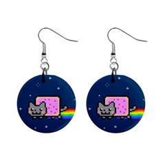 Nyan Cat Mini Button Earrings by Onesevenart