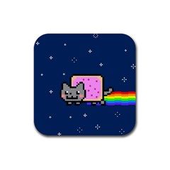 Nyan Cat Rubber Square Coaster (4 Pack)  by Onesevenart